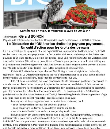VISIO : La déclaration de l'ONU sur les droits des paysan.n.e.s, un outil d'action pour les droits des paysans