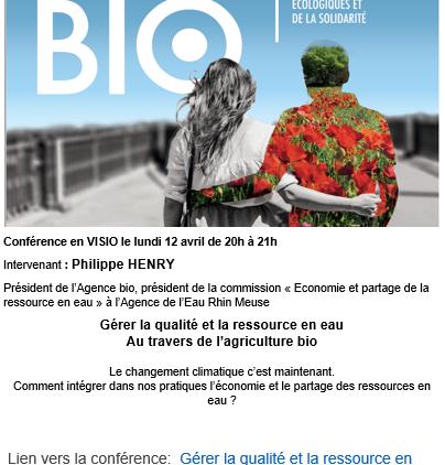 VISIO : Gérer la qualité et la ressource en eau au travers de l'agriculture bio