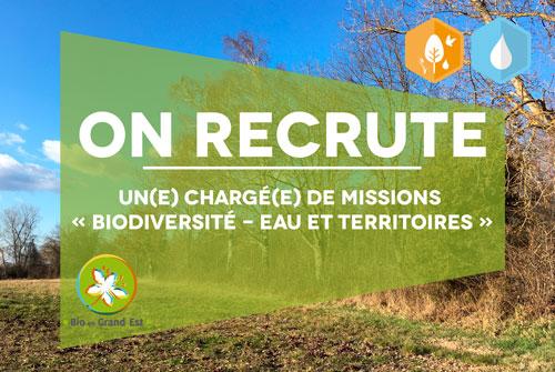 Recrutement : Chargé(e) de missions « Biodiversité – Eau et territoires »