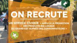 Recrutement : service civique «Appui à la promotion des produits bio locaux du Grand Est auprès des consommateurs»