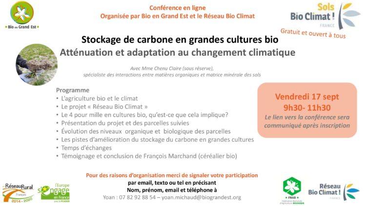 Stockage de carbone en grandes cultures bio : conférence en ligne le 17 septembre
